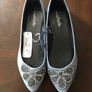 Grey bejeweled flats, size 8